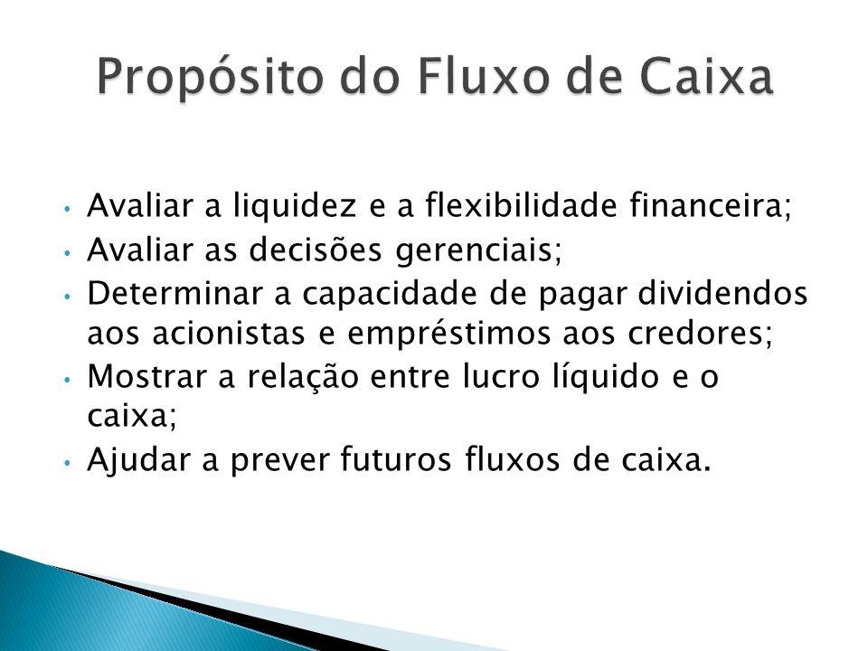 Avaliar a liquidez e a flexibilidade financeira; Avaliar as decisões gerenciais; Determinar a capacidade de pagar dividendos aos acionistas e emprésti