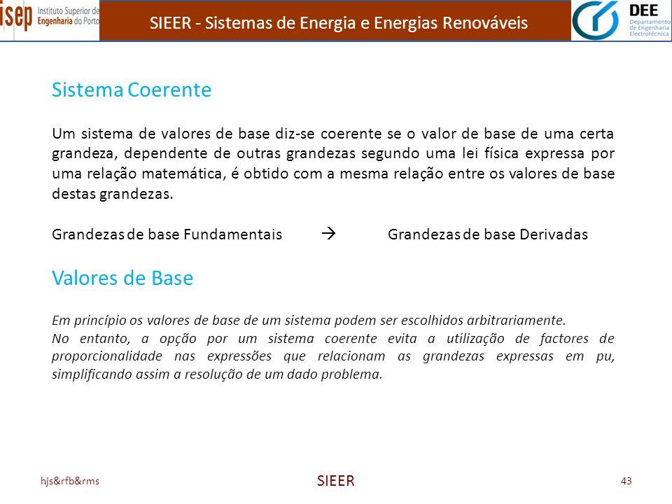 SIEER - Sistemas de Energia e Energias Renováveis hjs&rfb&rms SIEER 43 Sistema Coerente Um sistema de valores de base diz-se coerente se o valor de ba
