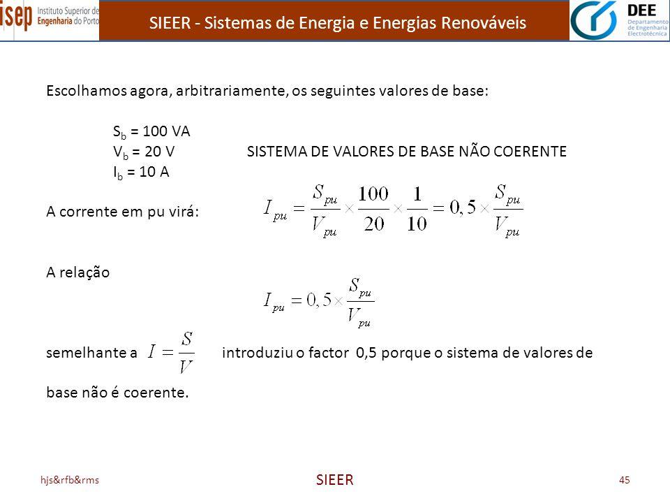 SIEER - Sistemas de Energia e Energias Renováveis hjs&rfb&rms SIEER 45 Escolhamos agora, arbitrariamente, os seguintes valores de base: S b = 100 VA V