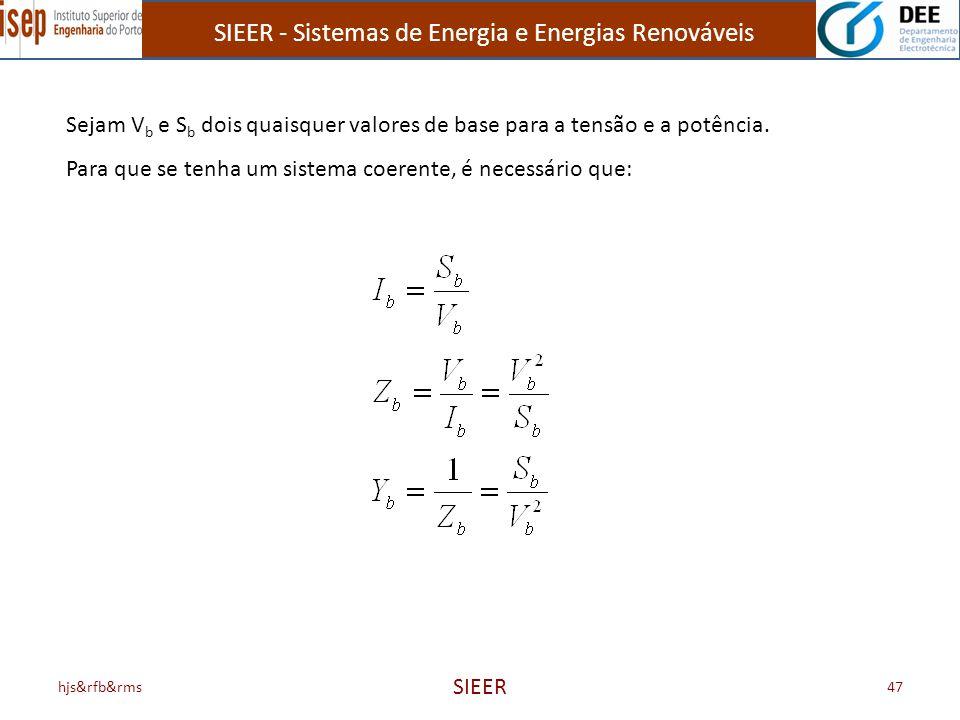 SIEER - Sistemas de Energia e Energias Renováveis hjs&rfb&rms SIEER 47 Sejam V b e S b dois quaisquer valores de base para a tensão e a potência. Para