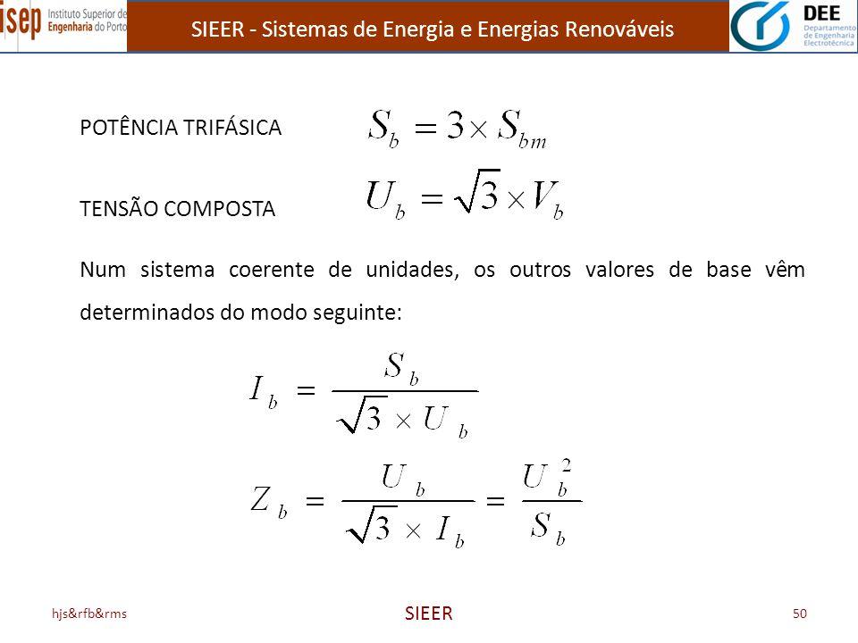SIEER - Sistemas de Energia e Energias Renováveis hjs&rfb&rms SIEER 50 POTÊNCIA TRIFÁSICA TENSÃO COMPOSTA Num sistema coerente de unidades, os outros