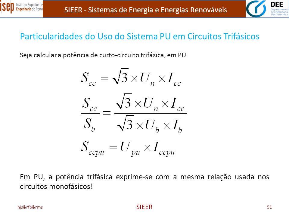 SIEER - Sistemas de Energia e Energias Renováveis hjs&rfb&rms SIEER 51 Particularidades do Uso do Sistema PU em Circuitos Trifásicos Seja calcular a p