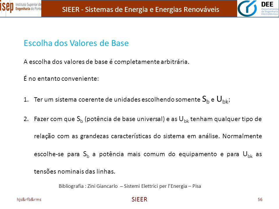 SIEER - Sistemas de Energia e Energias Renováveis hjs&rfb&rms SIEER 56 Escolha dos Valores de Base A escolha dos valores de base é completamente arbit