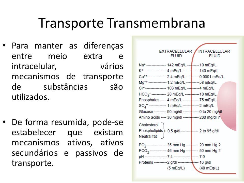 Transporte Transmembrana Para manter as diferenças entre meio extra e intracelular, vários mecanismos de transporte de substâncias são utilizados. De
