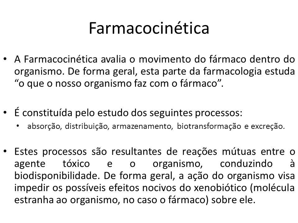 Farmacocinética A Farmacocinética avalia o movimento do fármaco dentro do organismo. De forma geral, esta parte da farmacologia estuda o que o nosso o