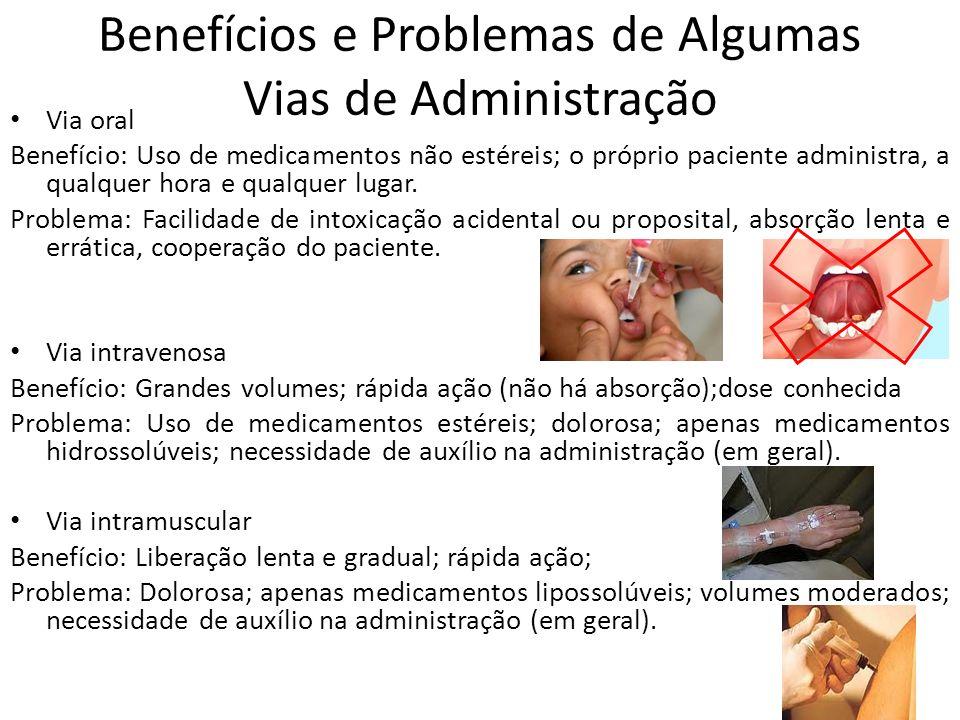 Benefícios e Problemas de Algumas Vias de Administração Via oral Benefício: Uso de medicamentos não estéreis; o próprio paciente administra, a qualque