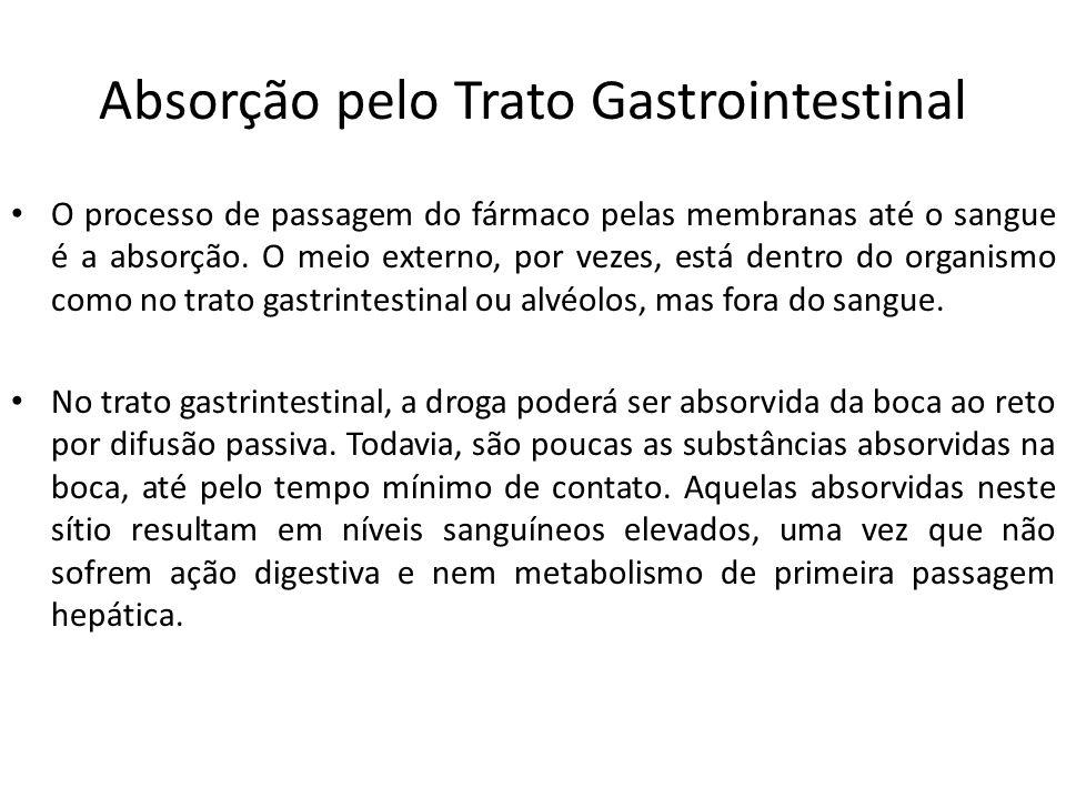 Absorção pelo Trato Gastrointestinal O processo de passagem do fármaco pelas membranas até o sangue é a absorção. O meio externo, por vezes, está dent
