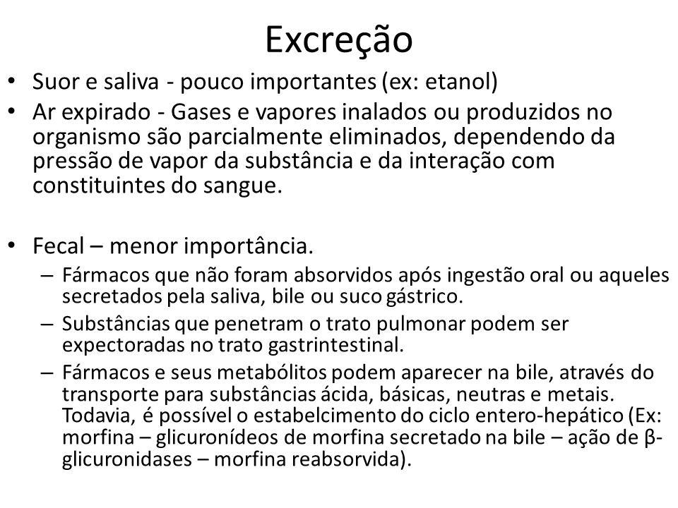 Excreção Suor e saliva - pouco importantes (ex: etanol) Ar expirado - Gases e vapores inalados ou produzidos no organismo são parcialmente eliminados,