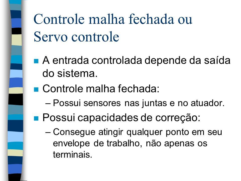 Controle malha fechada ou Servo controle n A entrada controlada depende da saída do sistema. n Controle malha fechada: –Possui sensores nas juntas e n