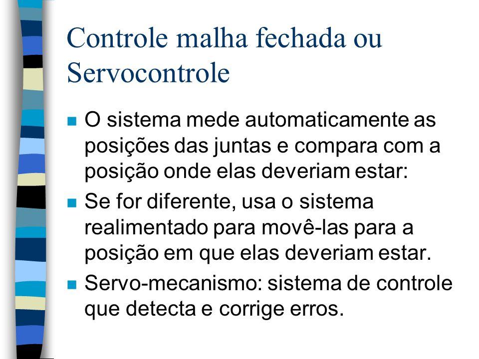 Controle malha fechada ou Servocontrole n O sistema mede automaticamente as posições das juntas e compara com a posição onde elas deveriam estar: n Se