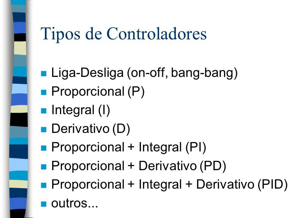 n Liga-Desliga (on-off, bang-bang) n Proporcional (P) n Integral (I) n Derivativo (D) n Proporcional + Integral (PI) n Proporcional + Derivativo (PD)