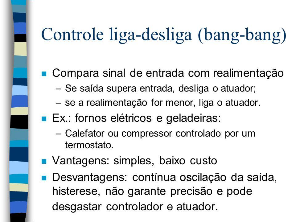 Controle liga-desliga (bang-bang) n Compara sinal de entrada com realimentação –Se saída supera entrada, desliga o atuador; –se a realimentação for me