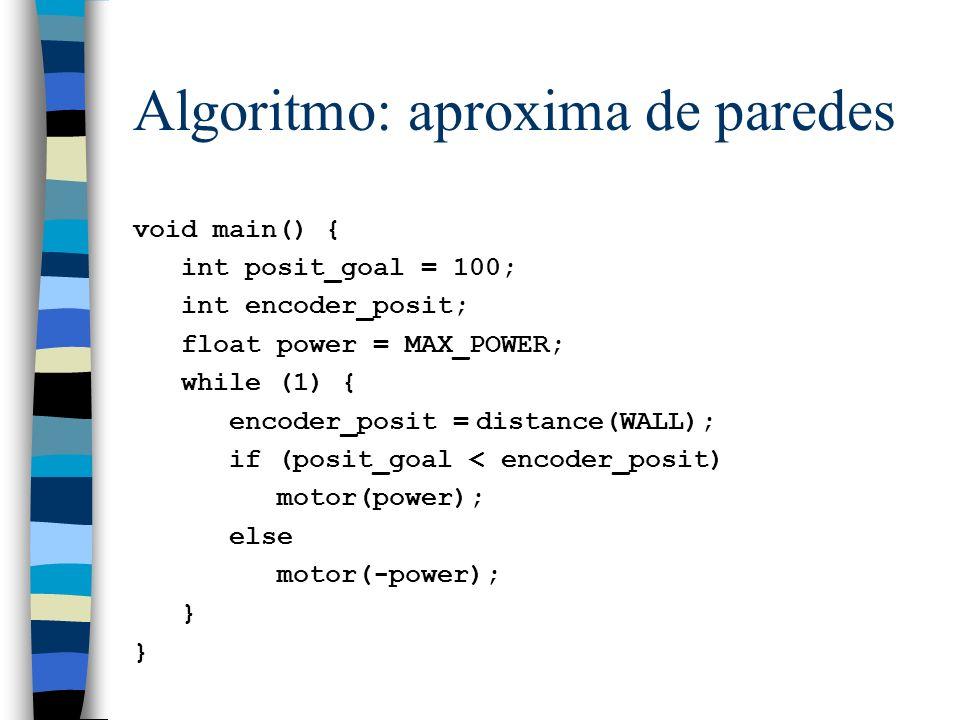 Algoritmo: aproxima de paredes void main() { int posit_goal = 100; int encoder_posit; float power = MAX_POWER; while (1) { encoder_posit = distance(WA