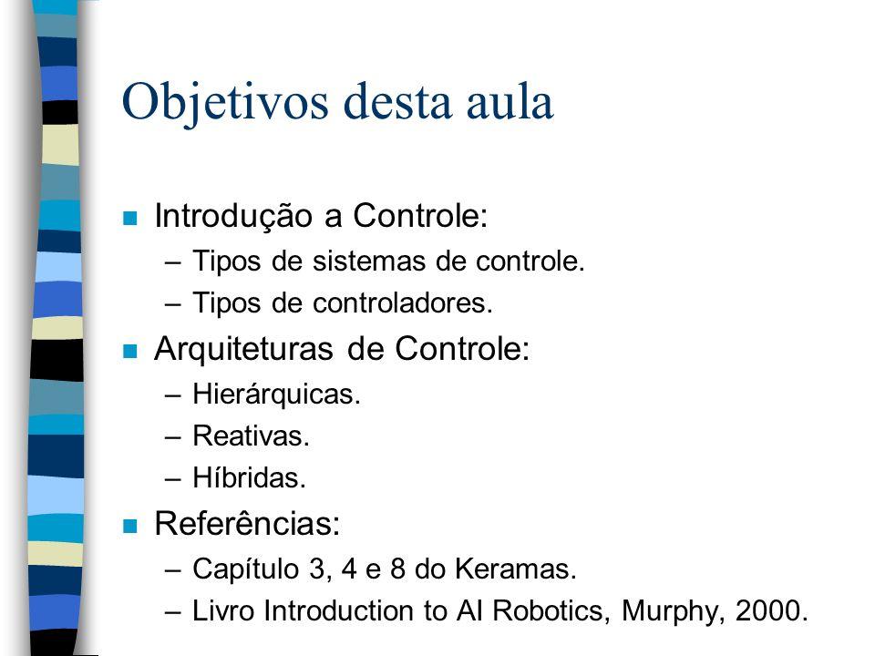 Objetivos desta aula n Introdução a Controle: –Tipos de sistemas de controle. –Tipos de controladores. n Arquiteturas de Controle: –Hierárquicas. –Rea