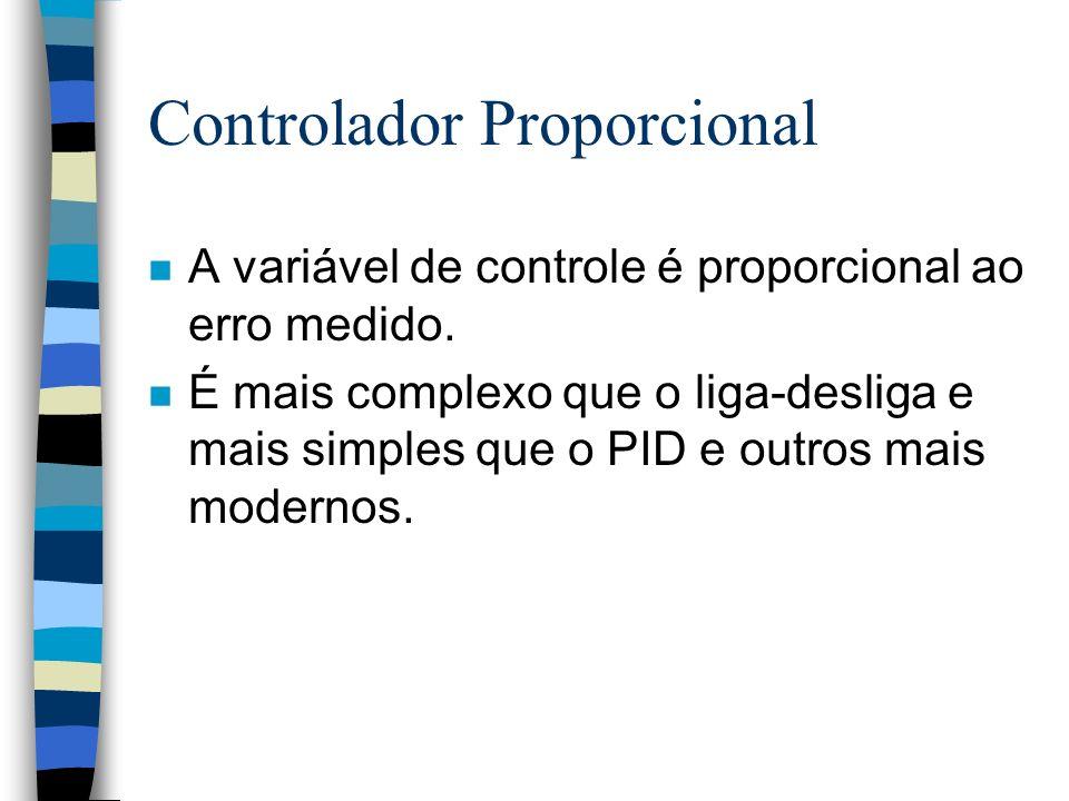 Controlador Proporcional n A variável de controle é proporcional ao erro medido. n É mais complexo que o liga-desliga e mais simples que o PID e outro