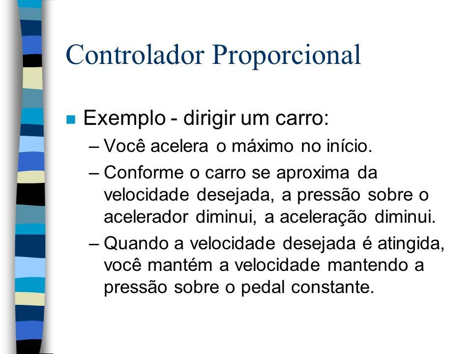 Controlador Proporcional n Exemplo - dirigir um carro: –Você acelera o máximo no início. –Conforme o carro se aproxima da velocidade desejada, a press