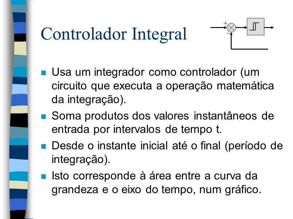 Controlador Integral n Usa um integrador como controlador (um circuito que executa a operação matemática da integração). n Soma produtos dos valores i