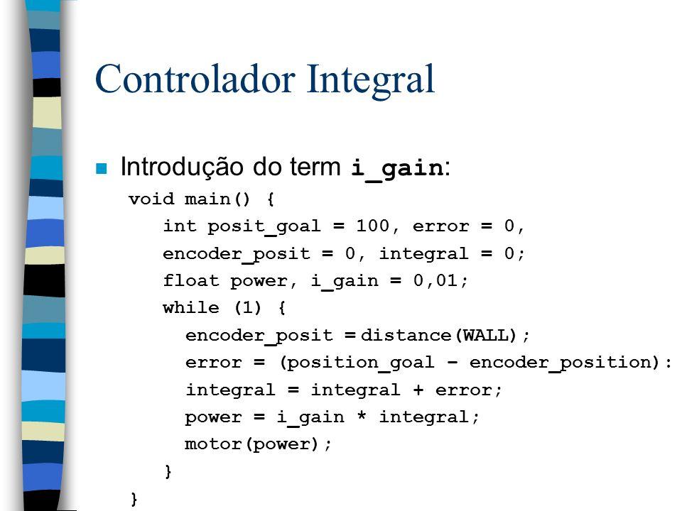 Controlador Integral Introdução do term i_gain : void main() { int posit_goal = 100, error = 0, encoder_posit = 0, integral = 0; float power, i_gain =