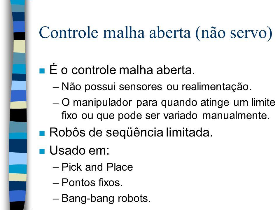 Controle malha aberta (não servo) n É o controle malha aberta. –Não possui sensores ou realimentação. –O manipulador para quando atinge um limite fixo