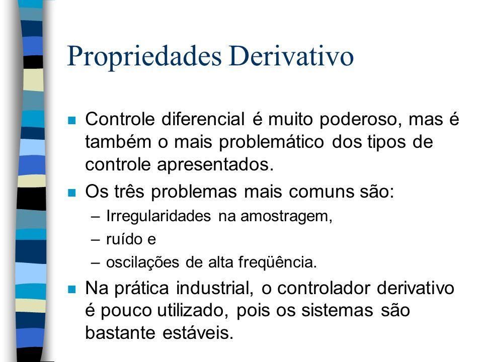 Propriedades Derivativo n Controle diferencial é muito poderoso, mas é também o mais problemático dos tipos de controle apresentados. n Os três proble