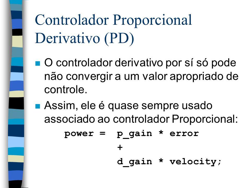 Controlador Proporcional Derivativo (PD) n O controlador derivativo por sí só pode não convergir a um valor apropriado de controle. n Assim, ele é qua