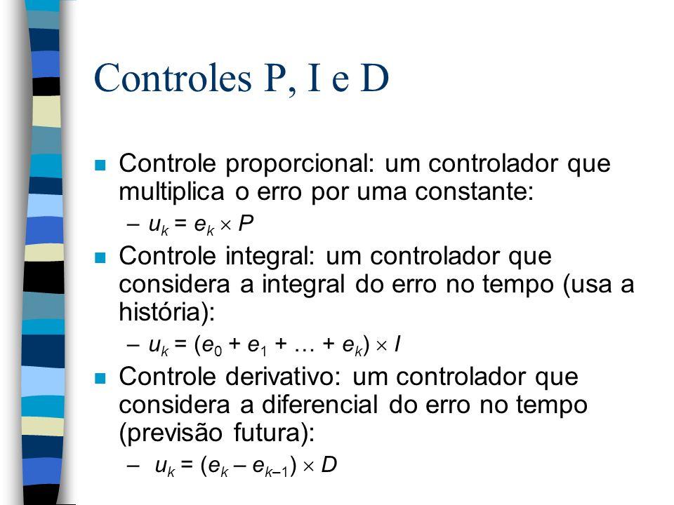 Controles P, I e D n Controle proporcional: um controlador que multiplica o erro por uma constante: –u k = e k P n Controle integral: um controlador q