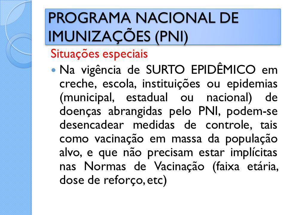 Situações especiais Na vigência de SURTO EPIDÊMICO em creche, escola, instituições ou epidemias (municipal, estadual ou nacional) de doenças abrangida