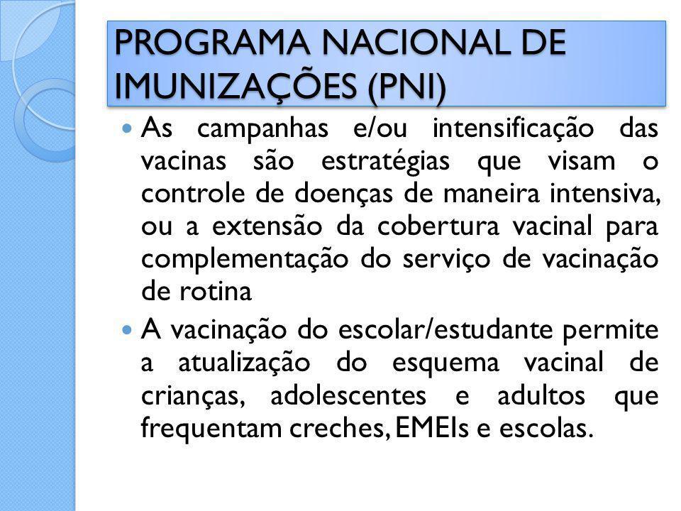 As campanhas e/ou intensificação das vacinas são estratégias que visam o controle de doenças de maneira intensiva, ou a extensão da cobertura vacinal