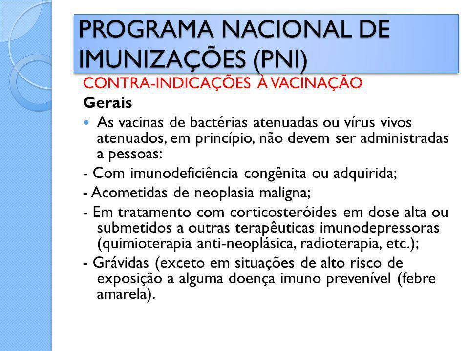 CONTRA-INDICAÇÕES À VACINAÇÃO Gerais As vacinas de bactérias atenuadas ou vírus vivos atenuados, em princípio, não devem ser administradas a pessoas: