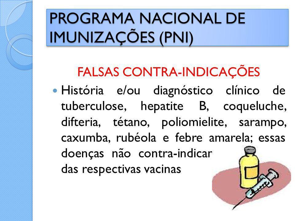 FALSAS CONTRA-INDICAÇÕES História e/ou diagnóstico clínico de tuberculose, hepatite B, coqueluche, difteria, tétano, poliomielite, sarampo, caxumba, r