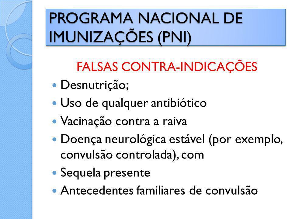 FALSAS CONTRA-INDICAÇÕES Desnutrição; Uso de qualquer antibiótico Vacinação contra a raiva Doença neurológica estável (por exemplo, convulsão controla