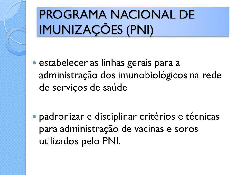 estabelecer as linhas gerais para a administração dos imunobiológicos na rede de serviços de saúde padronizar e disciplinar critérios e técnicas para