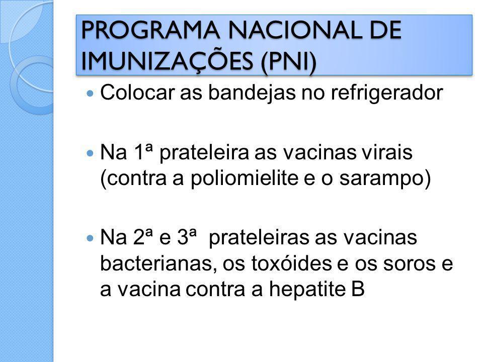 Colocar as bandejas no refrigerador Na 1ª prateleira as vacinas virais (contra a poliomielite e o sarampo) Na 2ª e 3ª prateleiras as vacinas bacterian