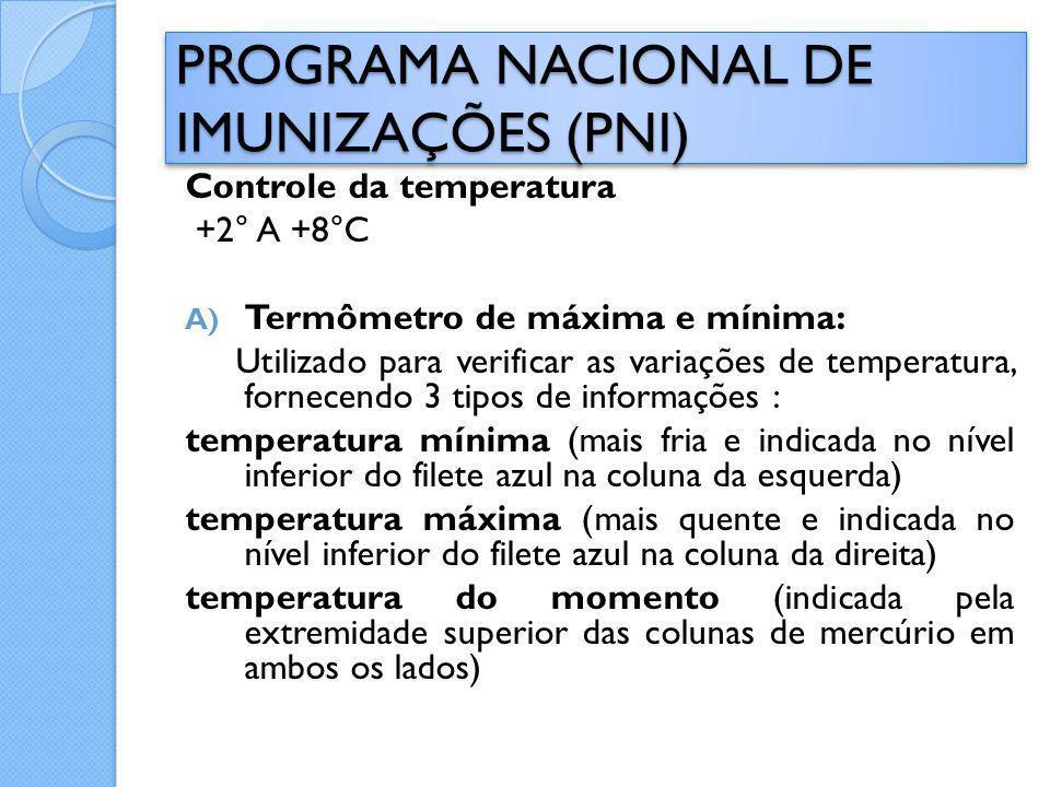Controle da temperatura +2° A +8°C A) Termômetro de máxima e mínima: Utilizado para verificar as variações de temperatura, fornecendo 3 tipos de infor