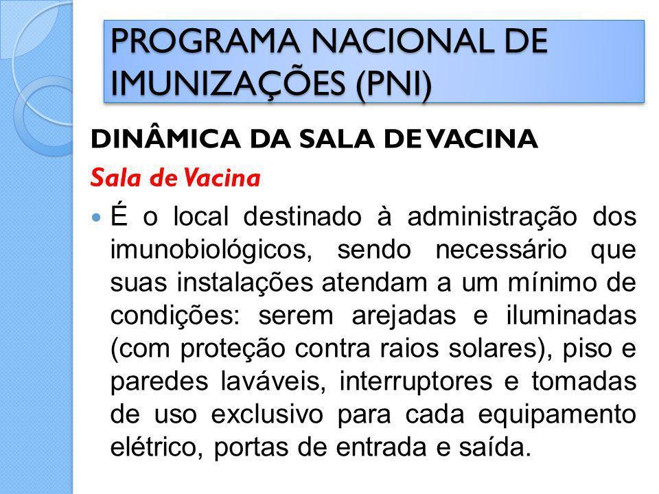DINÂMICA DA SALA DE VACINA Sala de Vacina É o local destinado à administração dos imunobiológicos, sendo necessário que suas instalações atendam a um