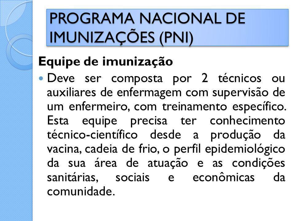 Equipe de imunização Deve ser composta por 2 técnicos ou auxiliares de enfermagem com supervisão de um enfermeiro, com treinamento específico. Esta eq