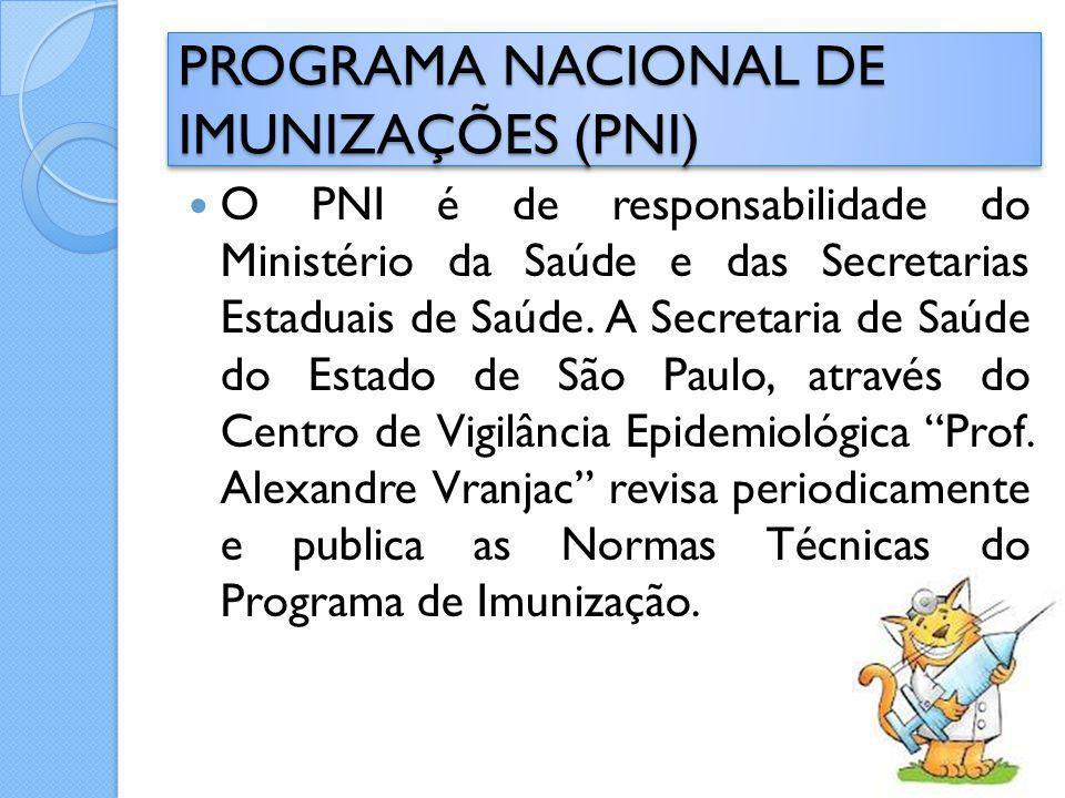 O PNI é de responsabilidade do Ministério da Saúde e das Secretarias Estaduais de Saúde. A Secretaria de Saúde do Estado de São Paulo, através do Cent