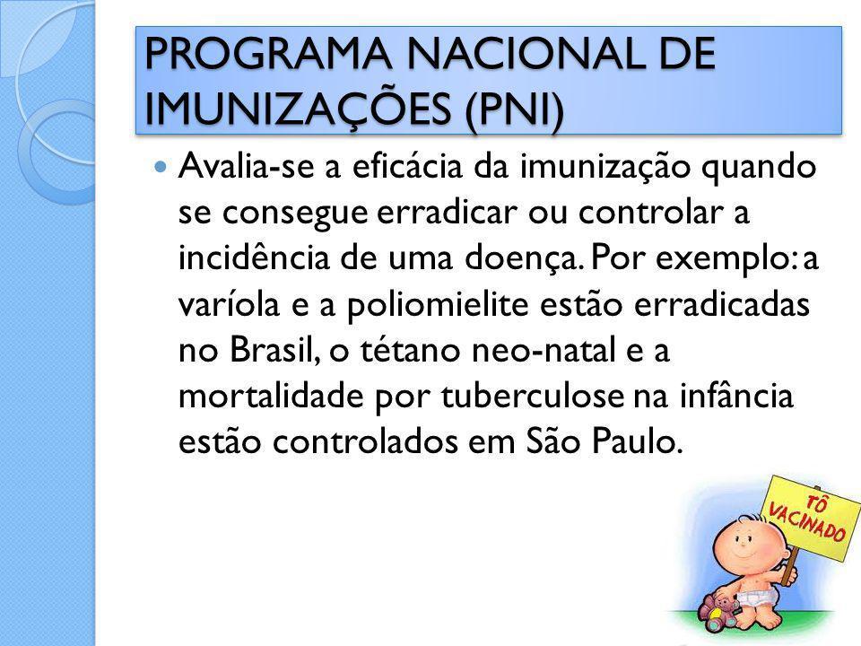 Avalia-se a eficácia da imunização quando se consegue erradicar ou controlar a incidência de uma doença. Por exemplo: a varíola e a poliomielite estão