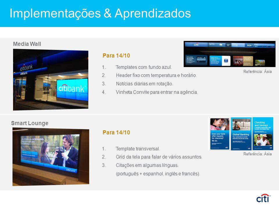 Implementações & Aprendizados Media Wall Smart Lounge 1.Templates com fundo azul.