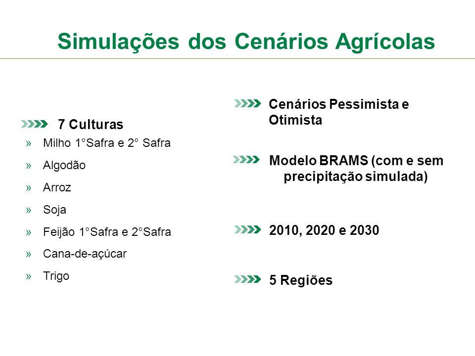 Simulações dos Cenários Agrícolas 7 Culturas »Milho 1°Safra e 2° Safra »Algodão »Arroz »Soja »Feijão 1°Safra e 2°Safra »Cana-de-açúcar »Trigo Cenários