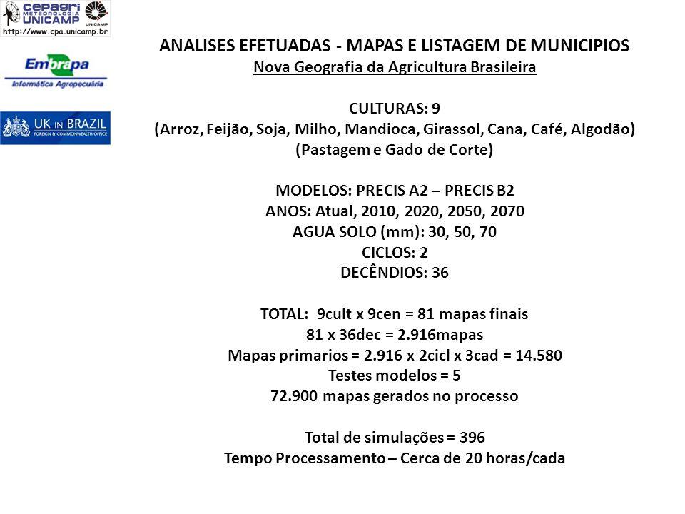 ANALISES EFETUADAS - MAPAS E LISTAGEM DE MUNICIPIOS Nova Geografia da Agricultura Brasileira CULTURAS: 9 (Arroz, Feijão, Soja, Milho, Mandioca, Girass