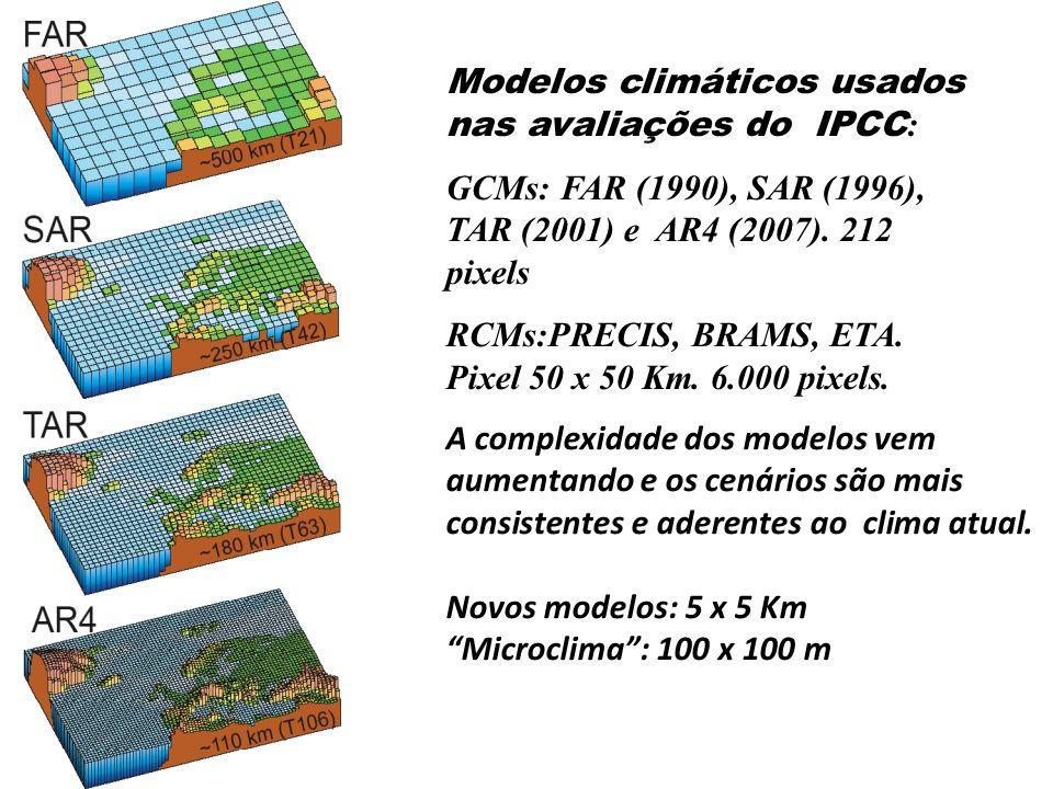 Modelos climáticos usados nas avaliações do IPCC : GCMs: FAR (1990), SAR (1996), TAR (2001) e AR4 (2007). 212 pixels RCMs:PRECIS, BRAMS, ETA. Pixel 50