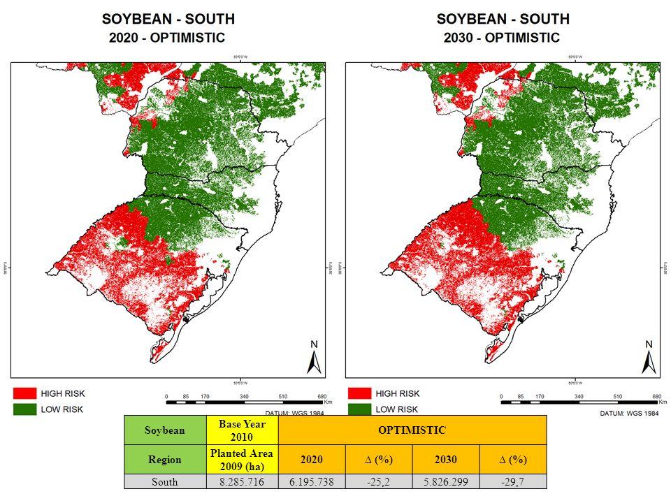 Soybean Base Year 2010 OPTIMISTIC Region Planted Area 2009 (ha) 2020 (%)2030 (%) South8.285.7166.195.738-25,25.826.299-29,7