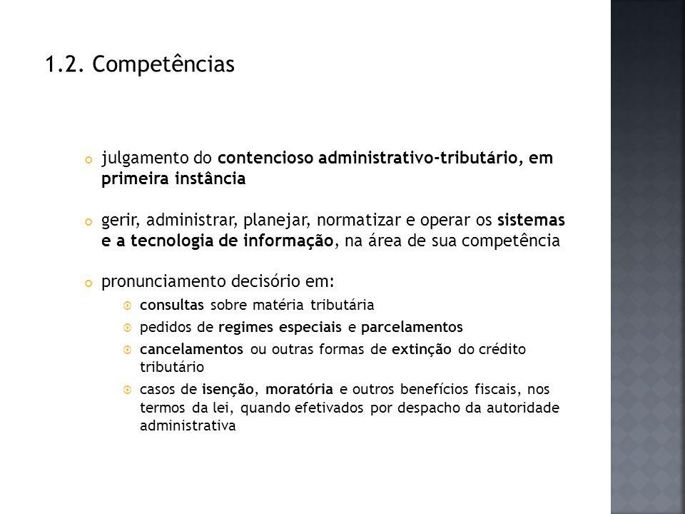 1.2. Competências julgamento do contencioso administrativo-tributário, em primeira instância gerir, administrar, planejar, normatizar e operar os sist