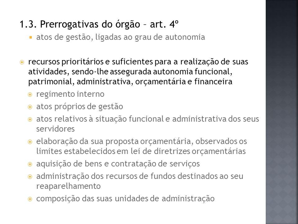1.3. Prerrogativas do órgão – art. 4º atos de gestão, ligadas ao grau de autonomia recursos prioritários e suficientes para a realização de suas ativi