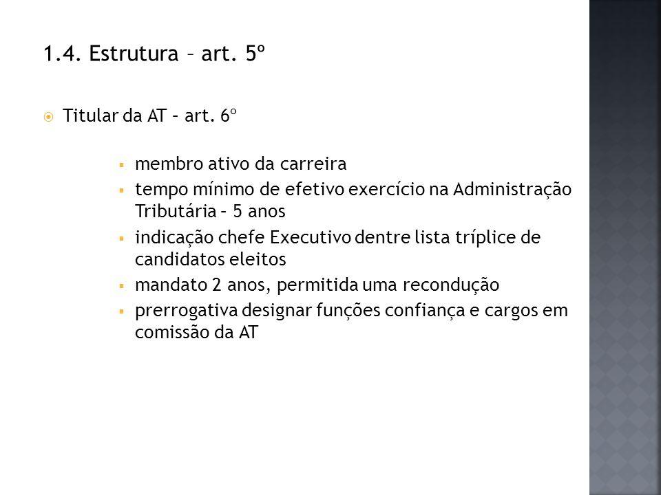 1.4. Estrutura – art. 5º Titular da AT – art. 6º membro ativo da carreira tempo mínimo de efetivo exercício na Administração Tributária – 5 anos indic