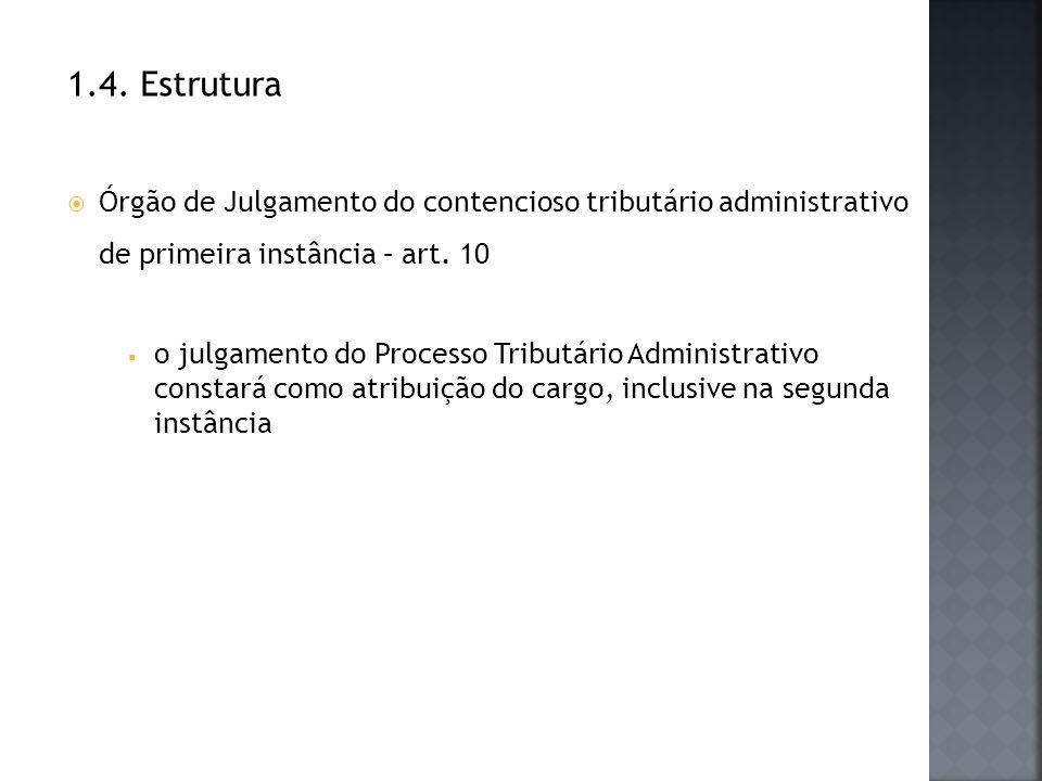 1.4. Estrutura Órgão de Julgamento do contencioso tributário administrativo de primeira instância – art. 10 o julgamento do Processo Tributário Admini