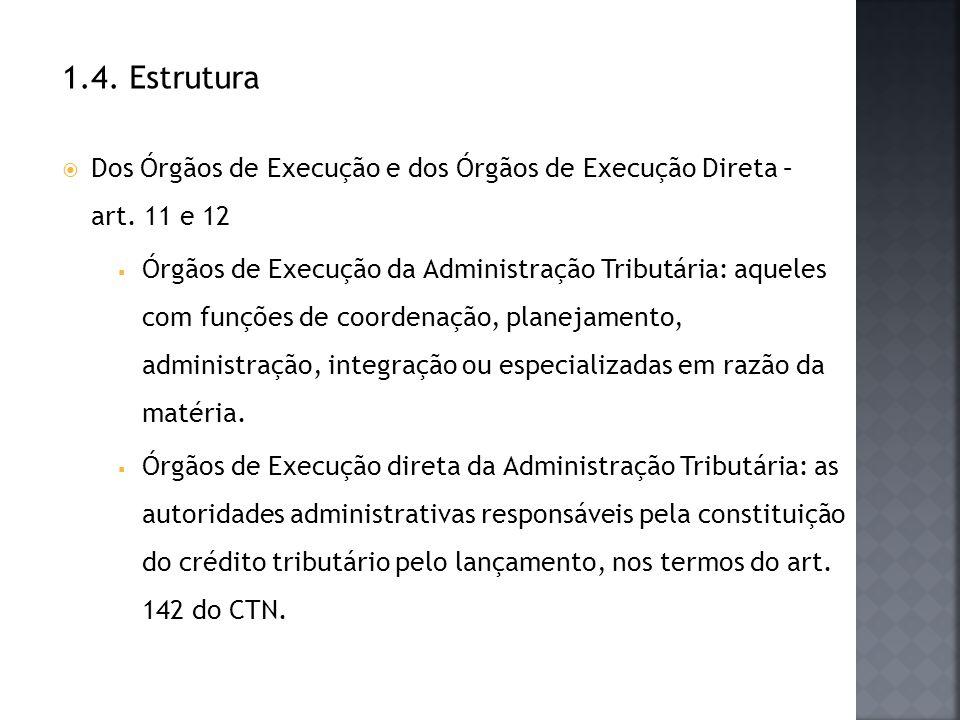 1.4. Estrutura Dos Órgãos de Execução e dos Órgãos de Execução Direta – art. 11 e 12 Órgãos de Execução da Administração Tributária: aqueles com funçõ