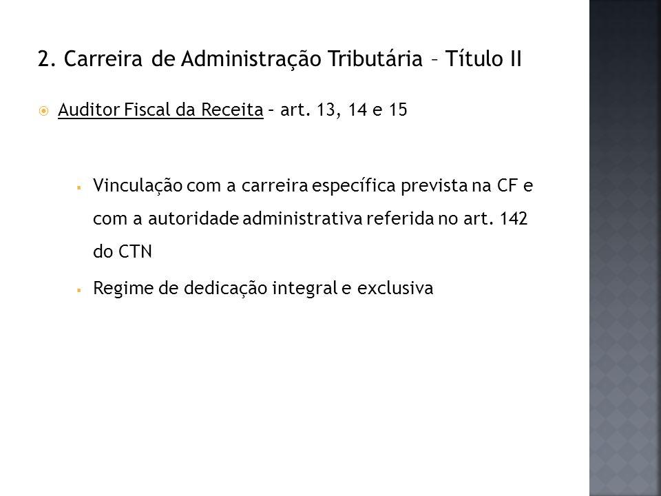 2. Carreira de Administração Tributária – Título II Auditor Fiscal da Receita – art. 13, 14 e 15 Vinculação com a carreira específica prevista na CF e