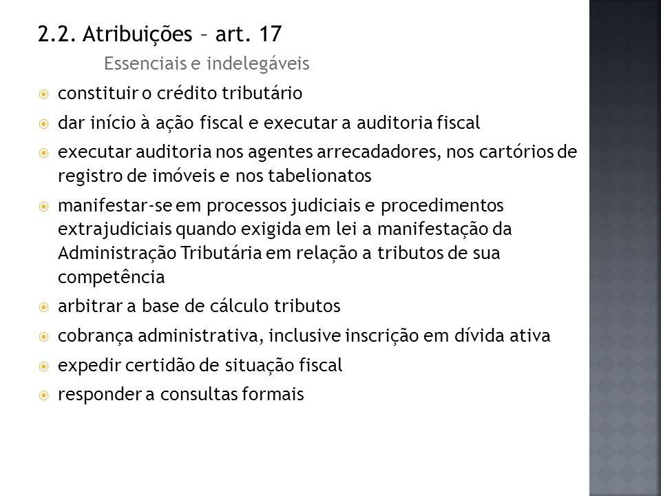 2.2. Atribuições – art. 17 Essenciais e indelegáveis constituir o crédito tributário dar início à ação fiscal e executar a auditoria fiscal executar a